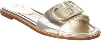 Valentino Vlogo Metallic Leather Slide