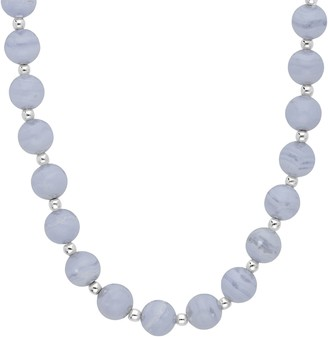 Elyse Ryan Sterling Blue Lace Agate Bead Necklace