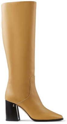 Jimmy Choo BRIONNE 85 Camel Brown Calf Leather Boots with Angular Block heels