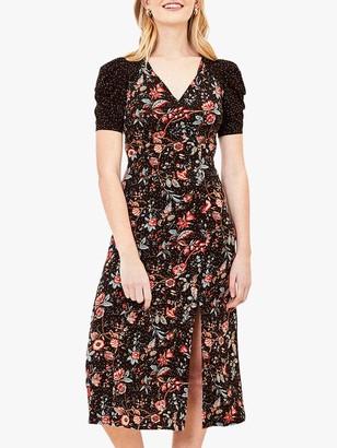 Oasis Patch Print Side Slit Midi Dress, Black/Multi