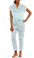Cabernet Floral Sateen Cropped Pajamas