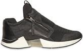Cinzia Araia Micro Mesh & Crackled Leather Sneakers