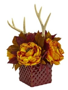 Nearly Natural Peony and Antlers Artificial Arrangement in Red Vase