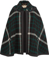 Burberry Canvas-trimmed Checked Wool Cape