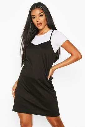 boohoo Stripe T-Shirt Layered Slip Dress