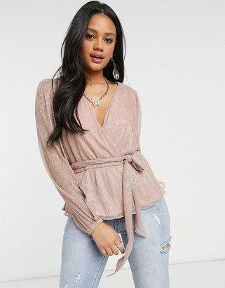 Forever New plisse wrap top with tie waist and balloon sleeve in metallic blush
