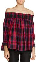 Maje Lafox Off-the-Shoulder Plaid Top
