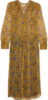 Etoile Isabel Marant Baphir Printed Silk Midi Dress - Yellow