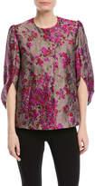 Co Metallic-Jacquard Kimono-Sleeve Snap-Front Jacket