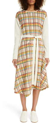 Loewe Check Wool Long Sleeve Midi Dress