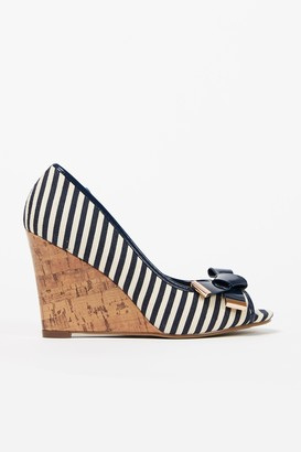 Wallis Navy Stripe Bow Wedge Heel Shoe
