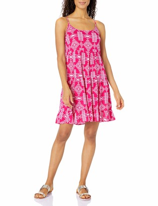 Notations Women's Printed Spaghetti Strap Tiered Tank Dress