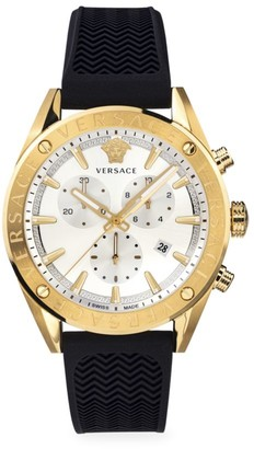 Versace V-Chrono IP Yellow Gold Black Silicone Strap Quartz Watch