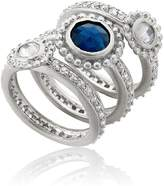 Riccova Arctic Mist Milky White CZ & Blue Sapphire 3 Stack Ring Size 8