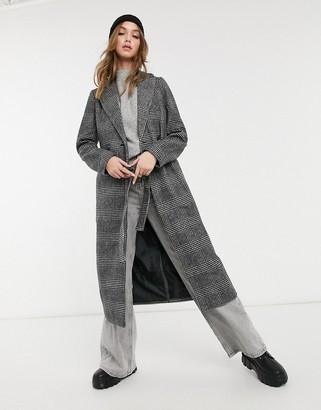 New Look belted maxi coat in black check