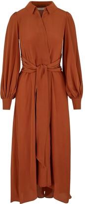 Ethereal London Aria Copper Midi Shirt Dress