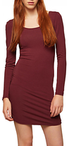 Miss Selfridge Long Sleeve Cotton Blend Dress, Burgundy