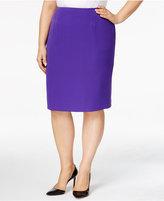 Kasper Plus Size Crepe Pencil Skirt