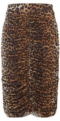 Ganni Ruched Leopard-print Pencil Skirt - Womens - Leopard