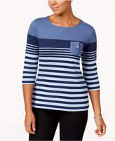 Karen Scott Striped Button-Detail Top, Created for Macy's