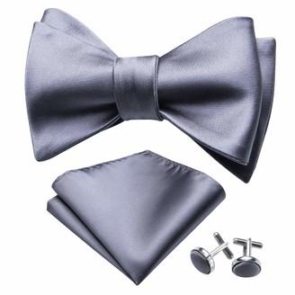 YOHOWA Solid Grey Self Tie Bow Tie and Pocket Square Mens Silk Bow Tie Set