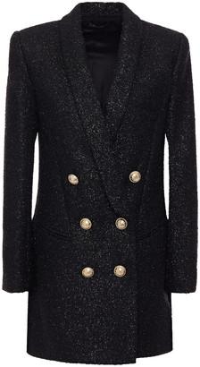 Balmain Double-breasted Wool-blend Tinsel-tweed Blazer