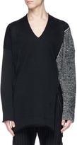 Sulvam Panelled V-neck wool sweater