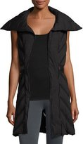 Blanc Noir Mesh-Inset Puffer Tunic Vest, Charcoal