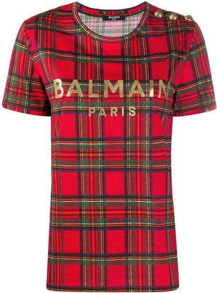 Balmain tartan logo-print T-shirt