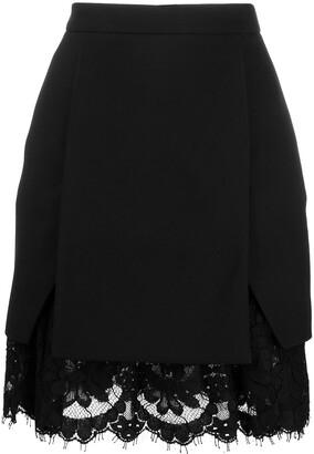 Alexander McQueen lace-trim A-line skirt