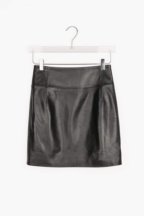 Genuine People High Waist Leather Mini Skirt