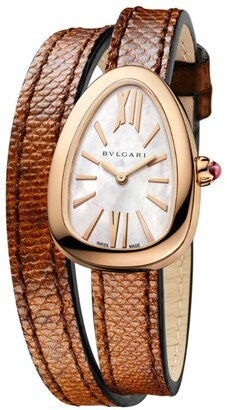 Bvlgari Rose Gold and Mother-of-Pearl Serpenti Watch 32mm