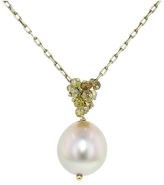 Ten Thousand Things Pearl and Diamond Cluster Necklace in Yellow Gold