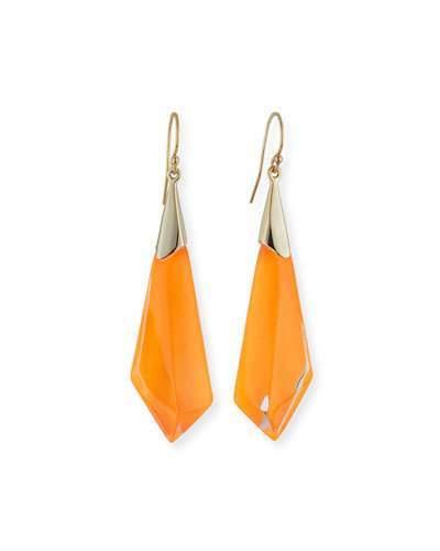 Alexis Bittar Faceted Lucite Drop Earrings, Orange