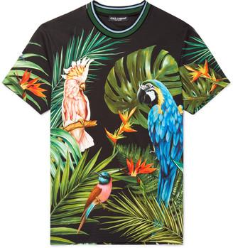 Dolce & Gabbana Slim-Fit Contrast-Trimmed Printed Cotton-Jersey T-Shirt - Men