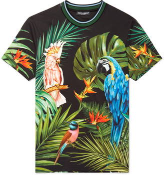 Dolce & Gabbana Slim-Fit Contrast-Trimmed Printed Cotton-Jersey T-Shirt