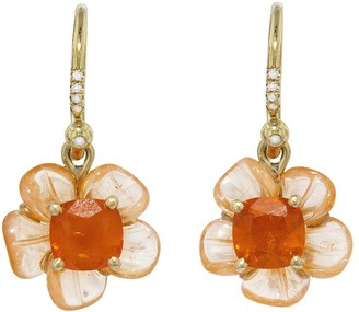 Irene Neuwirth One-Of-A-Kind Carved Mandarin Garnet and Fire Opal Flower Yellow Gold Earrings