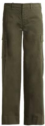 Nili Lotan Harrow Wide Leg Stretch Cotton Cargo Trousers - Womens - Khaki