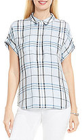 Vince Camuto Two by Short Sleeve Subtle Plaid Boxy Collared Shirt