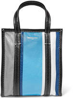 Balenciaga Bazar Xs Striped Textured-leather Tote - Blue