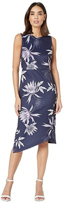 Vince Camuto Printed Scuba Bodycon Dress with Asymmetrical Hem (Navy Multi) Women's Dress