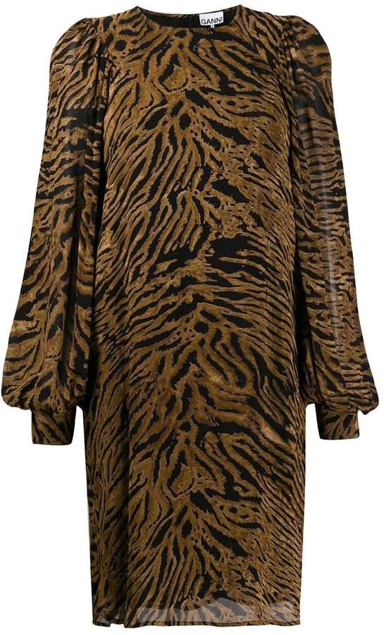 Ganni tiger print shift dress