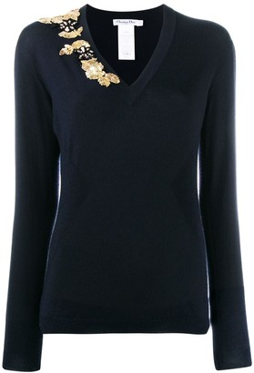 Christian Dior Pre-Owned bead embroidery slim jumper