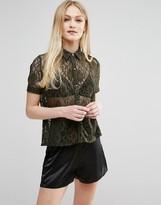Hedonia Short Sleeve Lace Shirt