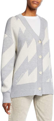 Proenza Schouler Pswl Striped V-Neck Button-Front Wool/Cotton Cardigan