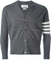 Thom Browne Short V-Neck Cardigan With 4-Bar Stripe In Medium Grey Cashmere