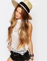 Brixton Wide Brim Straw Fedora Hat With Grosgrain Band
