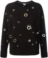 Kenzo eyelet embellished sweatshirt - women - Cotton/Polyamide/Polyester/metal - M