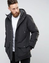 Lee Hooded Parka Coat Washed Black