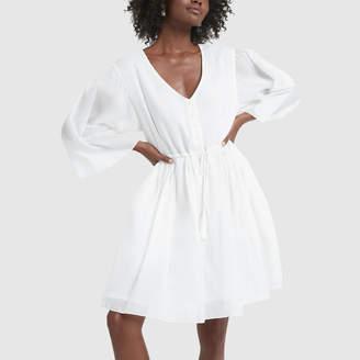 ATM Anthony Thomas Melillo Crinkle Cotton V-Neck Long-Sleeve Dress